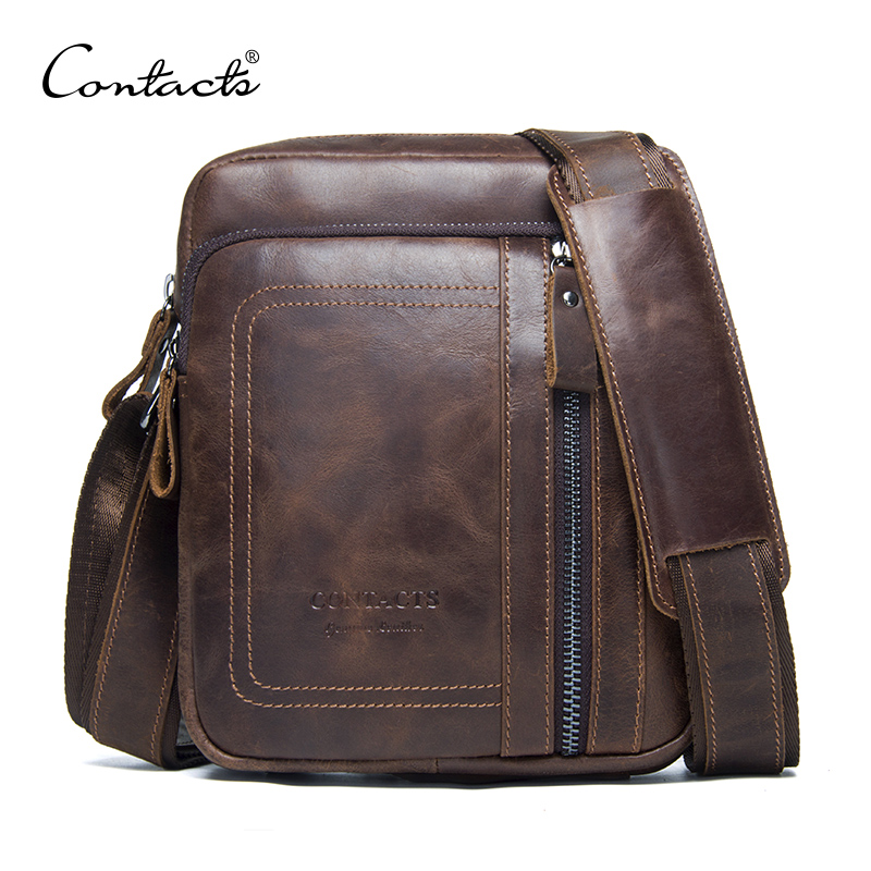 CONTACT'S Genuine Leather Men Bag Male Messenger Bag Casual Tote Shoulder Bags With Zipper Pocket For Men Crossbody Travel Bags 2017 genuine leather men bags men s crossbody bag new travel bag male messenger men bags leather casual shoulder handbag tote