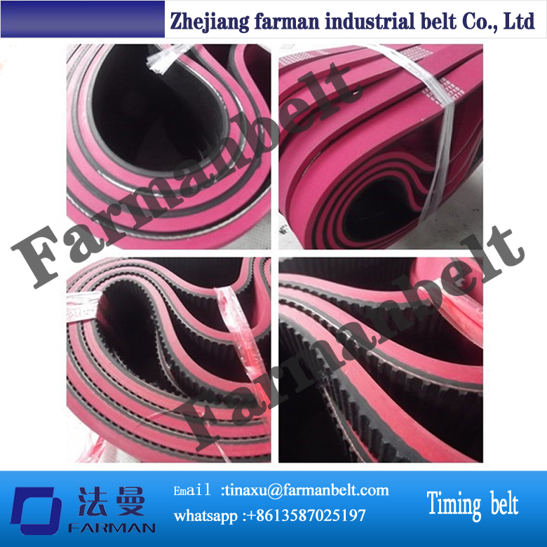 PU T10 timing belt with the red rubber coating ,industrial belt T10 for machine ,rubber coating Timing belt T10 made in China