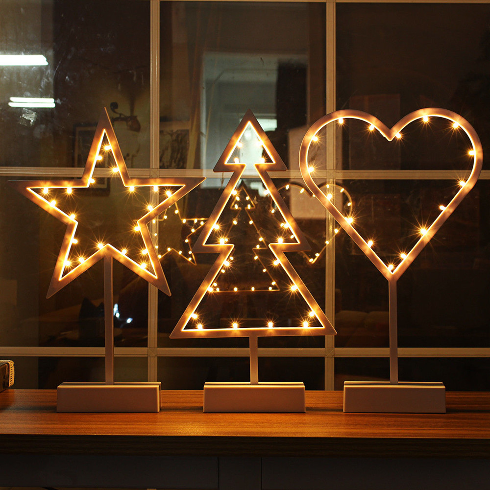 Modern Romantic Star Heart Christmas Tree LED Night Light Table Desk Lamp Kids Children Gift Home Bedroom Decor Battery Power 2pcs06 ice2pcs06 sop 8