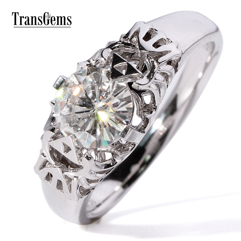Gorgeous Transgems 1 Carat ct GH white color lab moissanite diamond engagement wedding ring for women solid 9k/14k white gold transgems 1 6 ctw carat lab grown moissanite diamond eternity band solid 14k yellow and white gold engagement anniversary ring