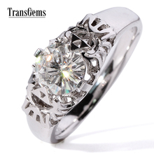 Gorgeous Transgems 1 Carat ct GH white color lab moissanite diamond engagement wedding ring for women solid 9k/14k gold