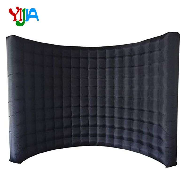 Whole Black Inflatable Photo Booth Backdrop Stand Wall No Lights Wall with Inner Air Blower for