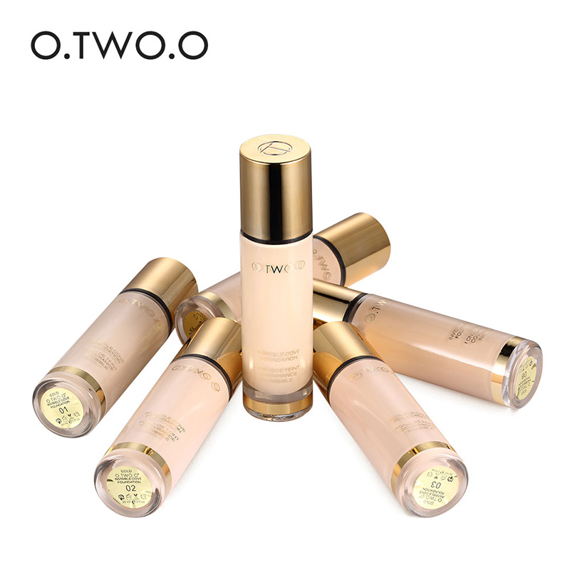 O.TWO.O Liquid Foundation Invisible Full Coverage Make Up Concealer Whitening Moisturizer Waterproof Makeup Foundation Primer