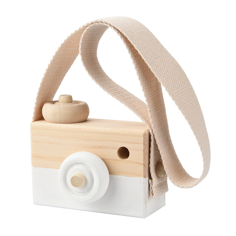 Warm White Wooden Toy Camera Kids Creative Neck Hanging Rope Toy Photography Prop Gift Super Eye Catching Camera Drop Shipping #