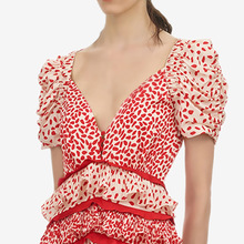 CHICATWILL V-neck Ruffles Puff Sleeves Women Red Leopard Empire Dresses Summer Party Long dresses Holiday Vacation