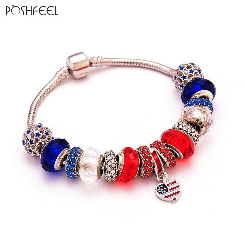 Poshfeel en forme de coeur américain Usa drapeau Bracelet à breloques femmes bricolage perles bijoux Bracelet Style patriotique Pulsera Mbr170093