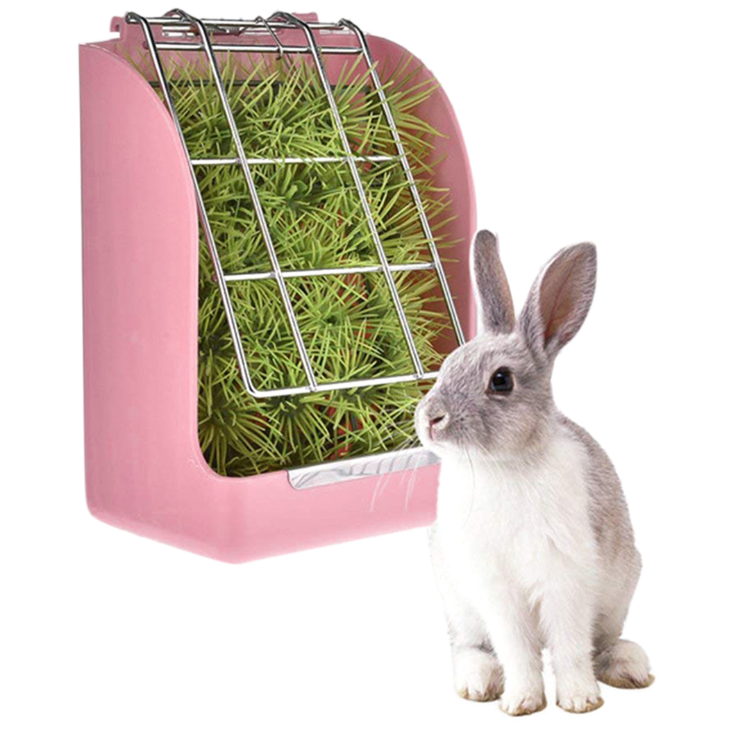 Rabbit Grass Feeder Fixed Food Container Bowl Spring Straw Frame Grass Basket Pet Guinea Pig Totoro Cage Feeding Accessories