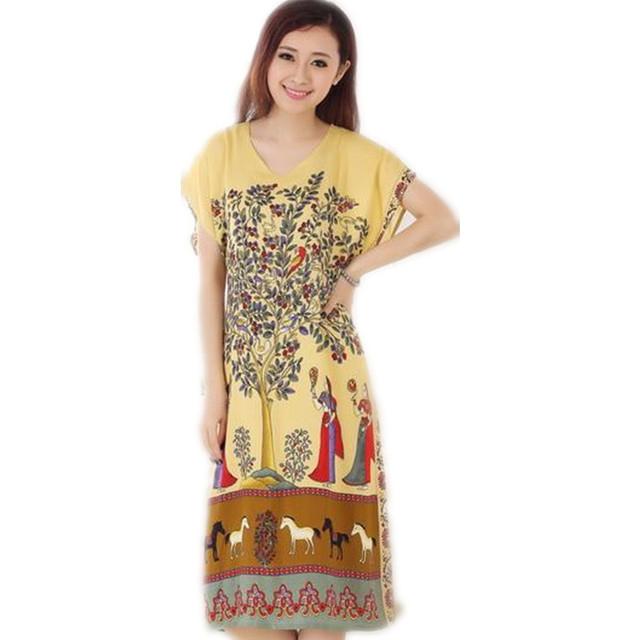 Novidade de Verão Impressão de Manga Curta da Senhora Camisola de Algodão Estilo Chinês Robe Bath Vestido Flor Sleepwear Um Tamanho T059