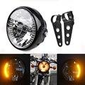 "Universal 7"" Warm White Motorcycle Custom Bikes Electrombile Turn Signal Light Low High Beam LED Headlight +Black Bracket Mount"