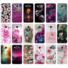 Soft TPU Flower Painted Case For Huawei Y3 2017 Cover For Huawei Y3 2017 MT6737M CRO-L02 CRO-L22 5.0 inch Protective Phone Bags