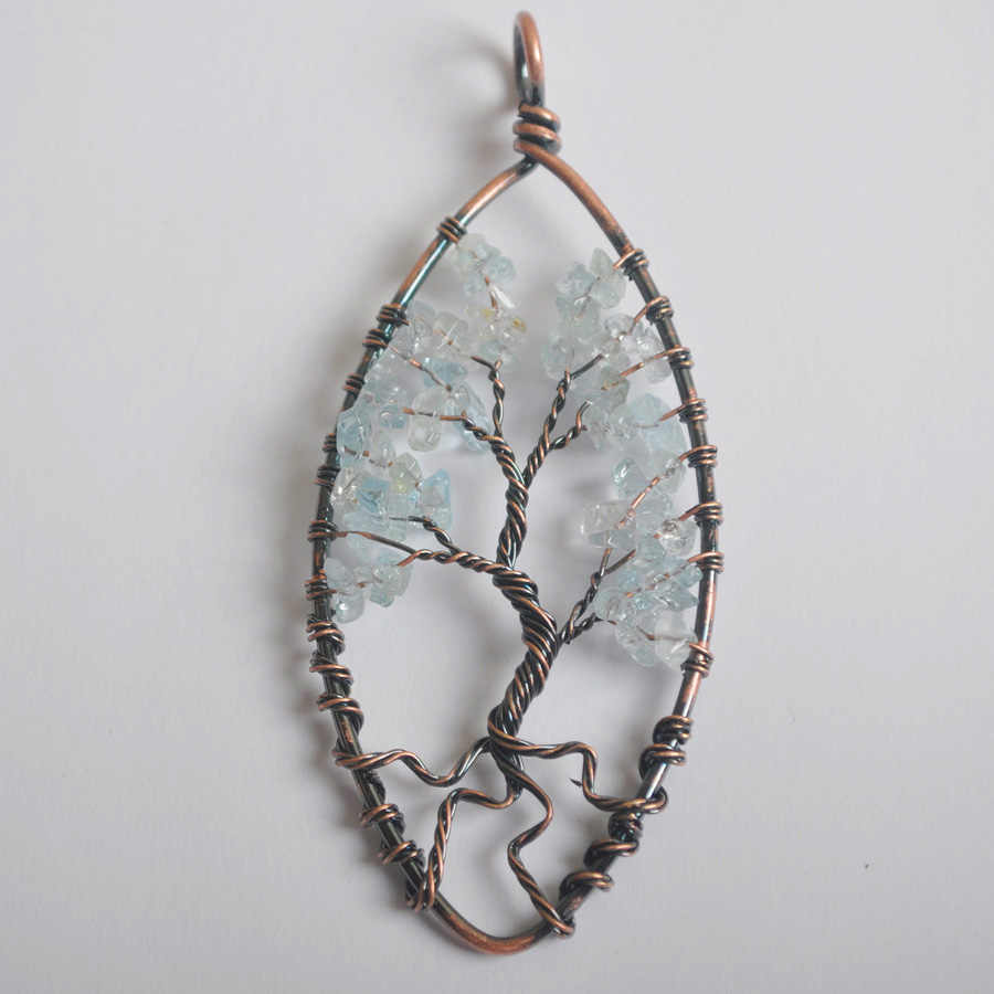 89 × 40 ミリメートルオーバル銅手作りワイヤーラップ生活の木天然石クリスタルオパールガーネットオニキス虎の目ペンダントビーズ 1 個