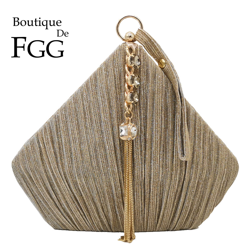Boutique De FGG Pentagon Women Satin Evening Bags Crystal Tassel Clutch Handbags Wedding Party Cocktail Minaudiere Purses Bag