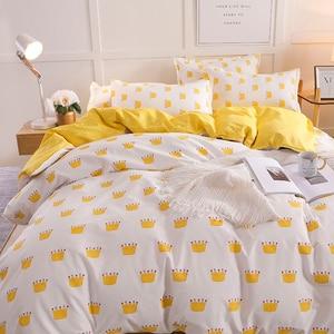 Image 4 - Bonenjoy黄色の王冠シングルベッドセット反応性プリントシンプルなダブルベッドシートropaデcama女王ベッドリネンキングサイズ寝具
