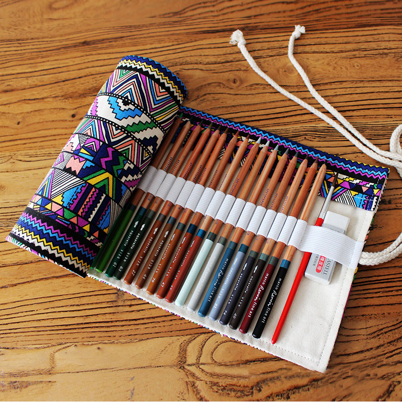 Ethnic 12/24/36/48/72 Holes Roll Pouch Canvas Storage Pencil Case Student DIY Painting Pencil Brush Organizer Bag School Supply