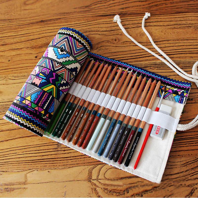 Étnica 12/24/36/48/72 Buracos Rolo Bolsa de Armazenamento Da Lona Caixa de Lápis Estudante Pintura DIY escova lápis Saco Organizador Material Escolar