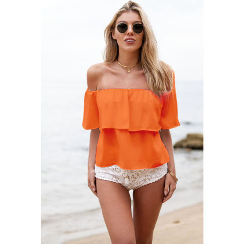 2015 Summer New Women Sexy Off Shoulder Boho Chiffon Blouse Vest Shirt Crop ladies fashion Blouses