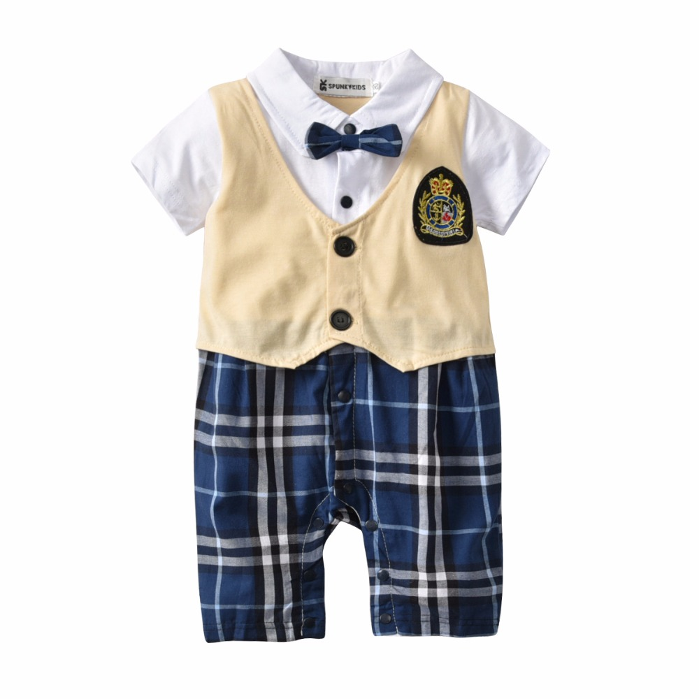 2018 Onesie Baby Blue Plaid Gentleman Romper Turn-down Collar Romper With Bow Tie Short Sleeve Baby Boy Summer Romper Fashion