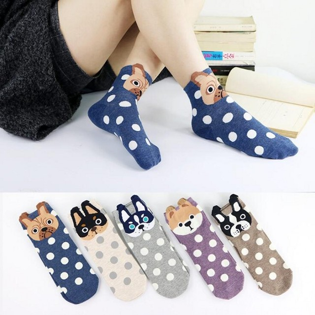 Cute Pug Socks 100 Pairs Wholesale Women Animal Cotton Sock Cartoon Meias Femininas Calcetines French Bulldog Pugs Dog Socks Lot
