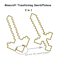 Minecraft Transforming Sword Pickaxe Diamond Weapons Plastic Plus Foam Minecraft 2 in 1 Sword Pickaxe Free