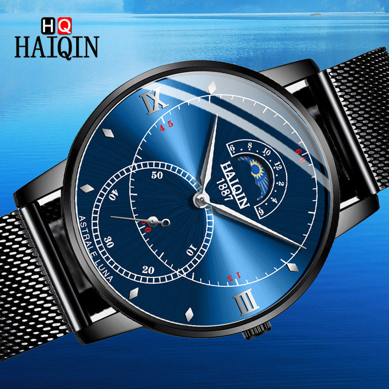 HAIQIN Men's Watch Moon-Phase Clock Quartz Deluxe Stainless-Steel Waterproof Sports New-Fashion