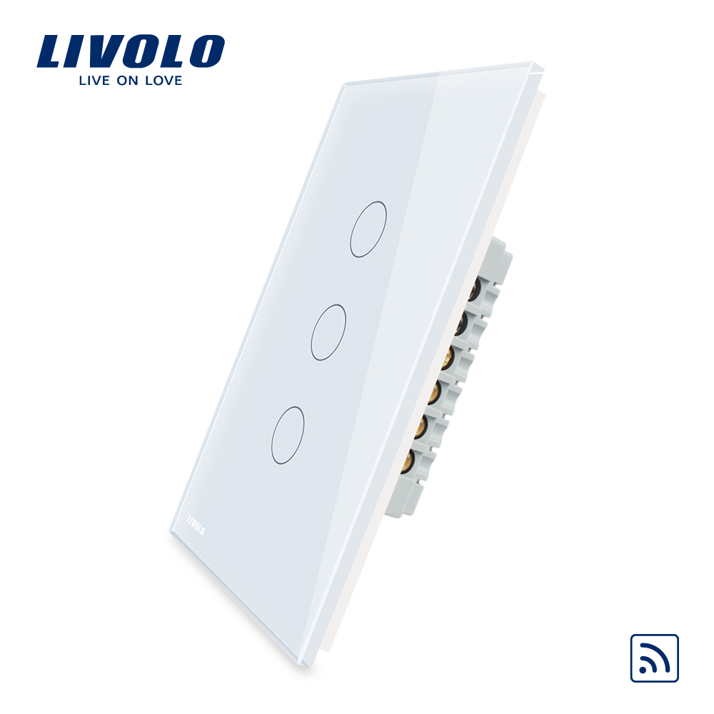 Livolo  Remote Switch With Crystal Glass Panel, Wall Light Remote Touch+LED Indicator,3gang 1 Way,VL-C503R-11/12,Without Remote us standard touch remote control light switch 3gang1way black pearl crystal glass wall switch with led indicator mg us01rc