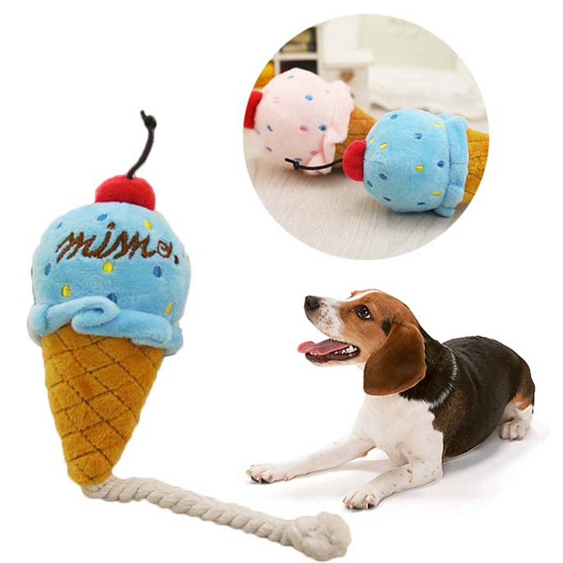 Lovely Puppy Pet Ice Cream Rope Toys Chew Toy Play Squeaker Cute Cat Dog  Squeaky Plush Sound for Pet Product
