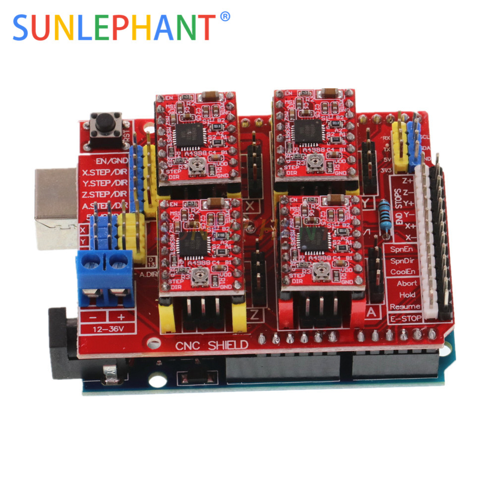 Elecrow Cnc Shield V3.51 For Arduino Grbl V0.9 Compatible With Pwm Spind Board Diy Cnc Projects Uses Pololu Drivers Reputation First Electronic Components & Supplies