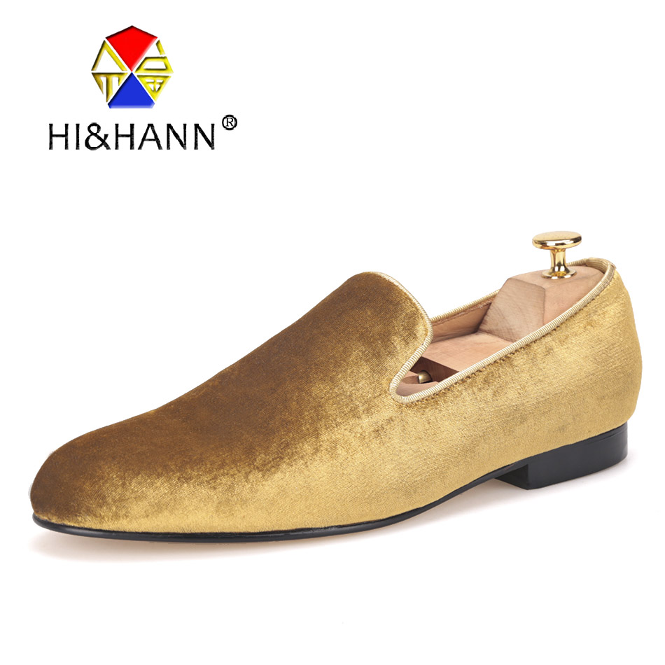 c9b9eaa20185 US $198.0 |HI&HANN Classic and Handcrafted smoking slippers men luxurious  gold velvet shoes with Genuine leather outsole Prom men loafers-in Men's ...