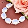 Enya clássico presente de natal sintética pedra da lua de prata banhado a pulseira para as mulheres 100% feitos à mão