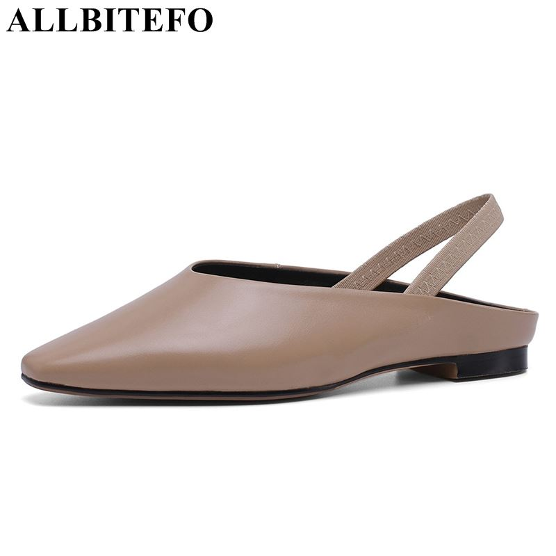 ALLBITEFO noval genuine leather women sandals flip flops girls ladies flat sandals summer cool comfortable shoes