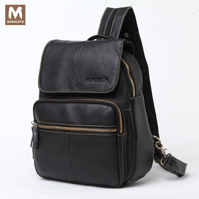 MONOLETH Genuine Leather Men School Bag Woman Backpack Bag For College Simple Design Men Casual Daypacks male fashion bag W5006 jooz preppy style women leather backpack youth school backpack bag for college vintage bookbags men male casual daypacks