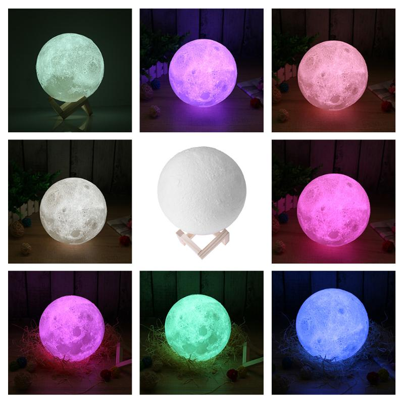 3D Printed Moon Lamp 7 Colors Pat Control USB Rechargerable Lunar Light Home Decor, with Wooden Stand Home Decor Creative Gift magnetic floating levitation 3d print moon lamp led night light 2 color auto change moon light home decor creative birthday gift