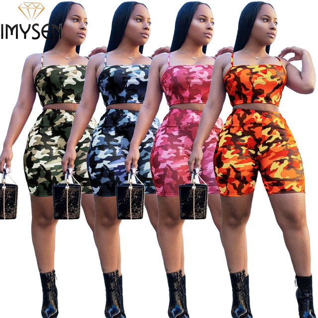 fa1fa32eba7 IMYSEN Plus Size Tracksuits Women Summer Camouflage Print Tank Top Shorts  Suit 4 Color Outfit