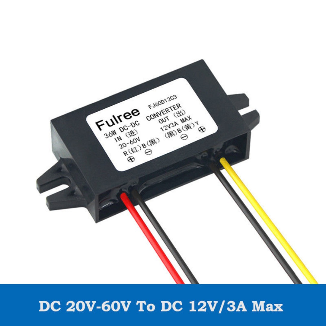 Car Step Down Converter Waterproof Power Supply Converter <font><b>DC</b></font>-<font><b>DC</b></font> Step Down Volt Converter 20V-60V 24V 36V 48V to <font><b>12V</b></font> 3A image