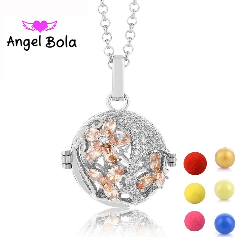 цена на Aromatherapy Pendant CZ Necklaces 20.5mm Cage Zircon Jewelry Angel Bola Harmony Caller Sound Pendants for Mom Gifts L102