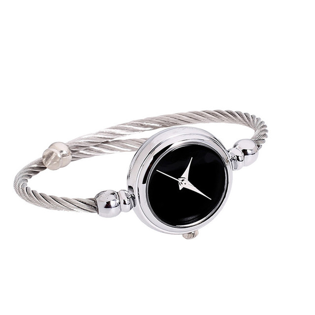 2018 New Arrivals bayan saat Fashion Womens Glass Mirror Bracelet Watch Circular