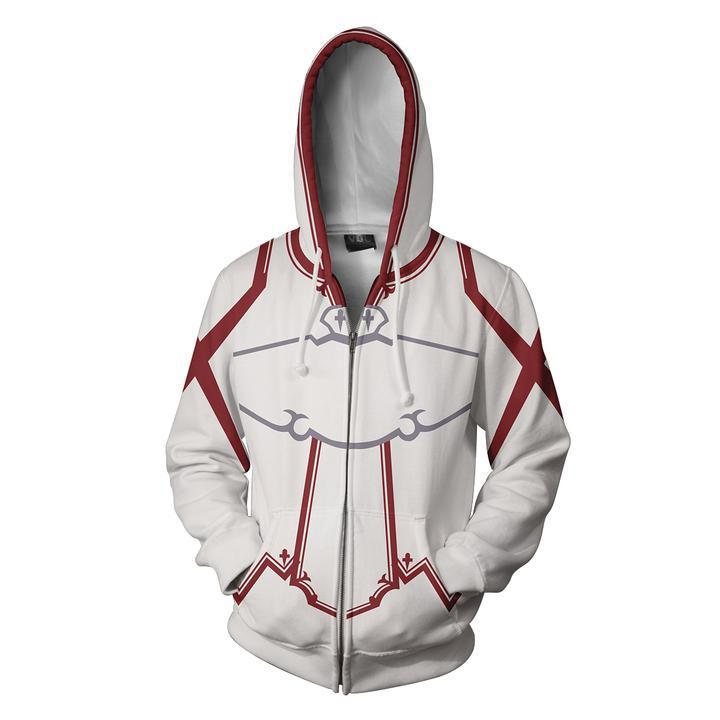 2018 New Sword Art Online Hooded Hot Long Sleeve Zipper Men superman Masked Hoodie Cosplay Sweatshirt Jacket