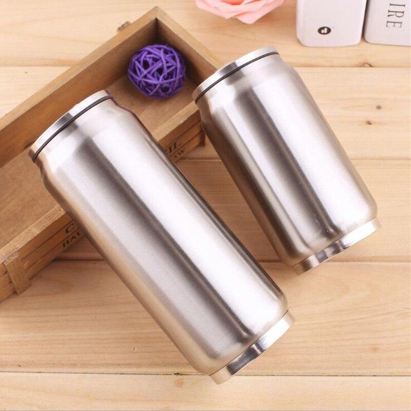 300/500ml bebida pode com palha de aço inoxidável isolado thermol garrafa de água garrafa térmica de café vácuo caneca garrafa térmica