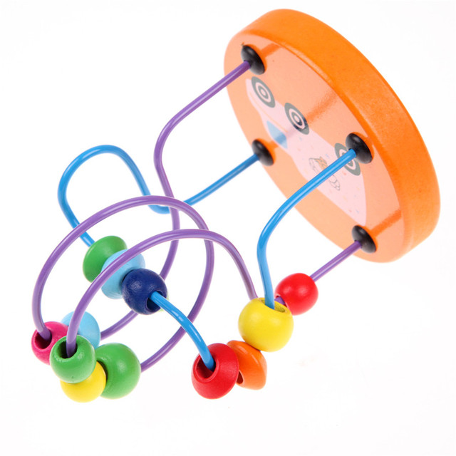 Original Baby Colorful Wooden Mini Around Beads Educational Toys