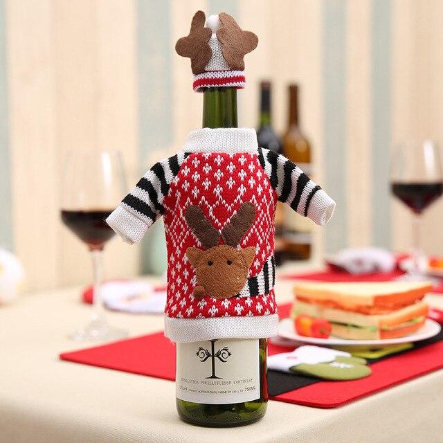 wine bottle cover bags christmas decoration gift christmas wool bags santa claus christmas wine bottle decorations