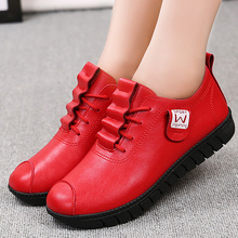 Red leather sneakers women fashion loafers size 42 dance shoes