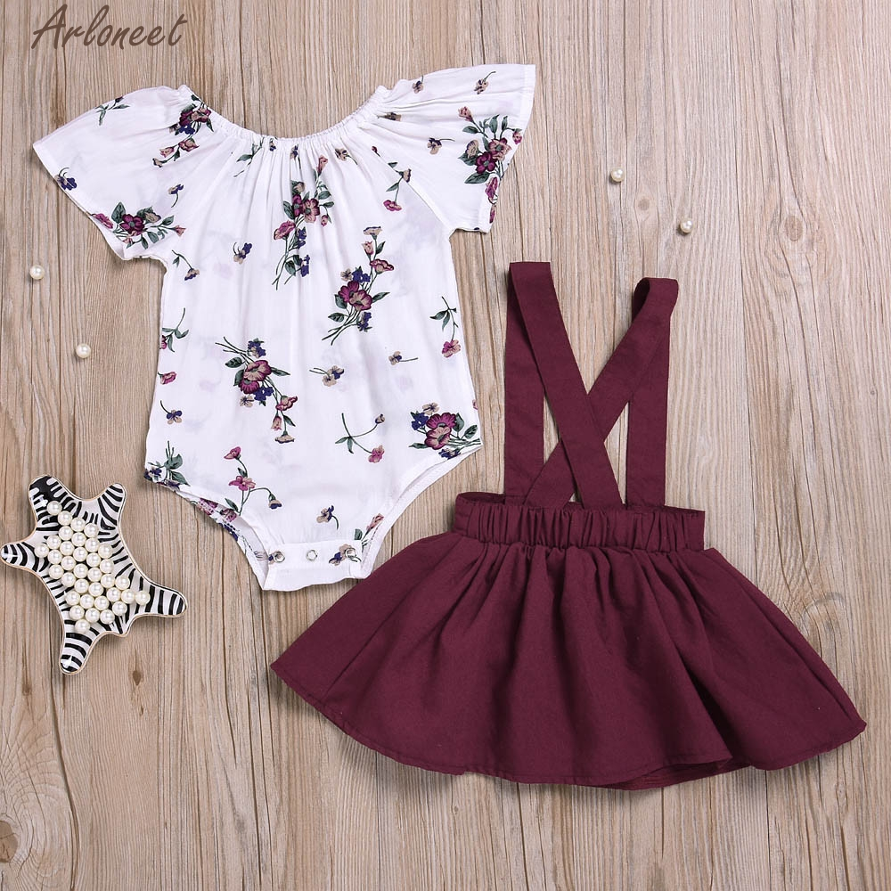 ARLONEET Jumpsuit Outfits-Set Rompers Sleeve Floral Baby-Girls Infant Cute 2pcs Print