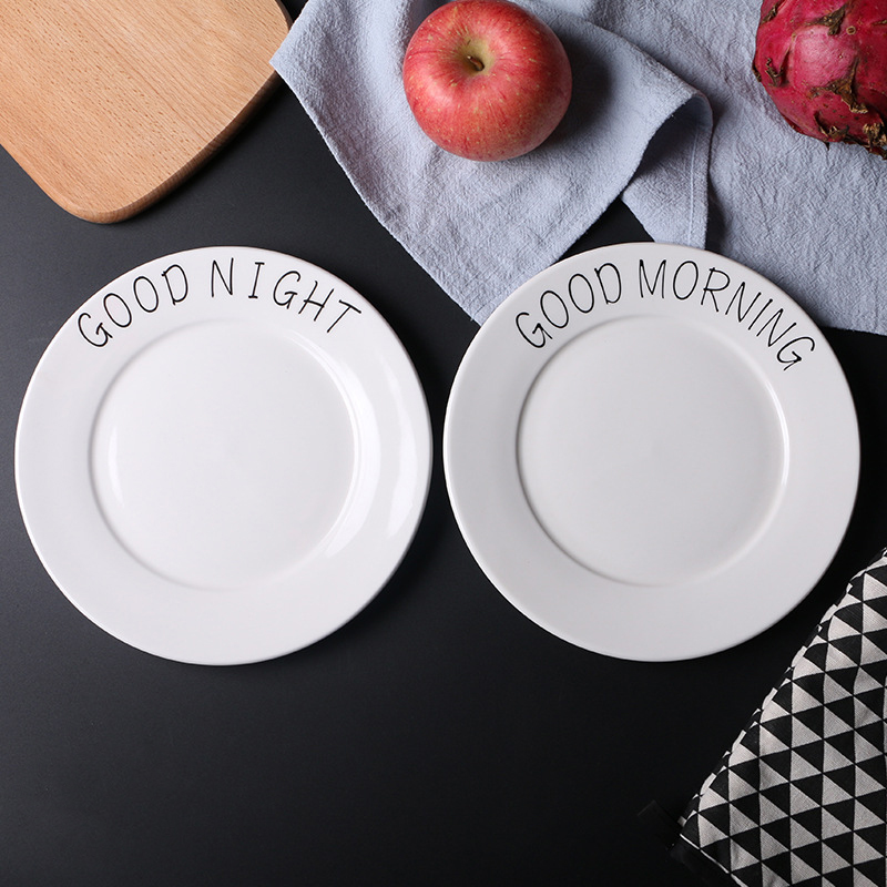 8 Inch Good Morning Good Evening White Simple Style Engraving Dinnerware Brief Strokes Breakfast Dish Dinner Plate Fruit Tray