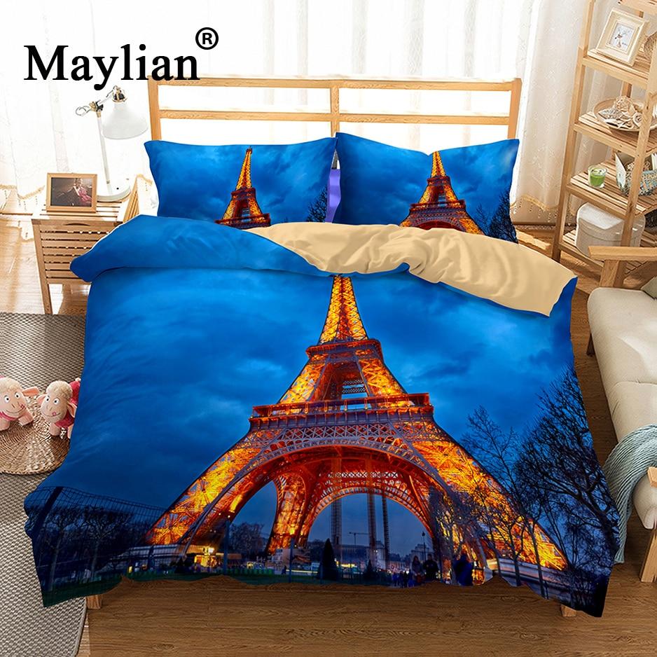 Paris Tower City View Bedding Set Mandala Quilt Cover