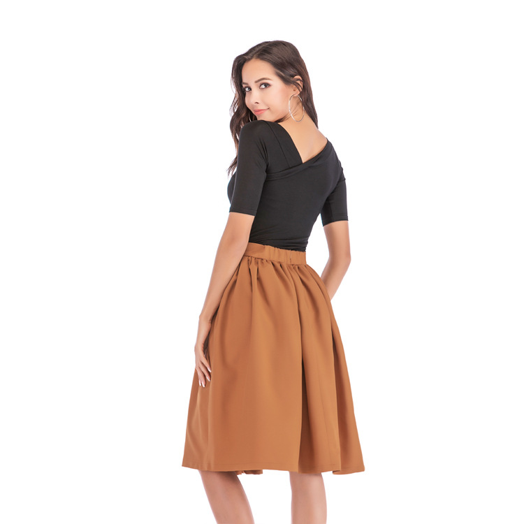 Bachash 19 New Skirt Pockets Fashion Spring Autumn Ball Gown Skirt High Waist Female Casual Solid Loose Knee-Length Skirts 12