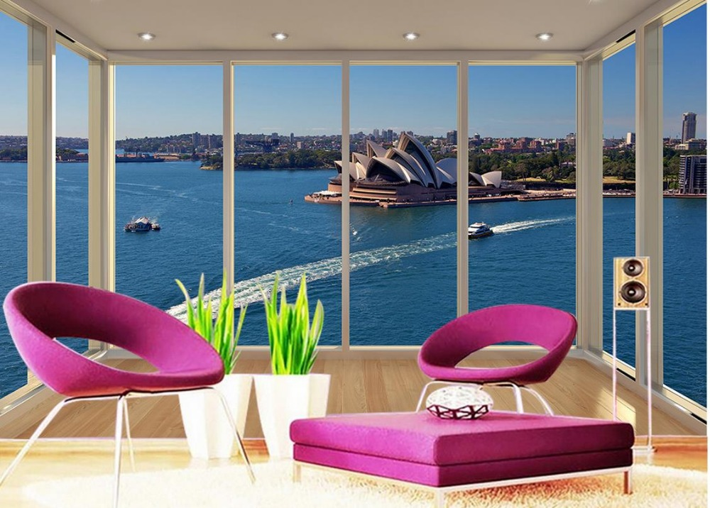 Custom 3d mural wallpaper Balcony views of the Sydney Opera House Living room TV backdrop bedroom 3d photo wallpaper  free shipping 3d personality wallpaper sofa tv coffee house bar backdrop living room bedroom bathrom wallpaper mural