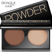 BIOAQUA Natural Makeup 2 Color Bronzer Highlighter Powder Palette Trimming Make Up Face Cosmetic Contour Pressed