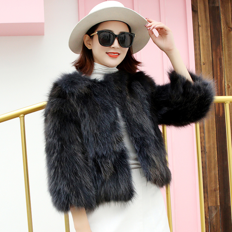 Real Raccoon Fur Jackets Women's O neck 3/4 Sleeve Real Fur Coats Outerwear Elegant Ladies Fur Leather Jacket