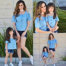 b6962cb9b98 Summer Trendy Style Family Match Clothes Off Shoulder Solid T Shirt And Denim  Shorts Matching Mother Daughter Outfits Set
