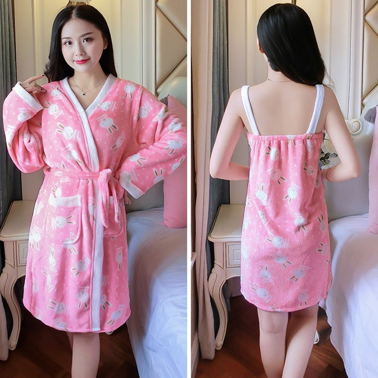 2PCS Sexy Thick Warm Flannel Robes Sets for Women 2018 Winter Coral Velvet Lingerie Night Dress Bathrobe Two Piece Set Nightgown 302